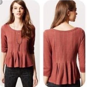 Anthropologie Mauve peplum sweater top S